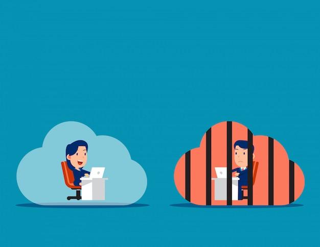 Diferenças no pensamento e no conceito de atitudes de trabalho Vetor Premium
