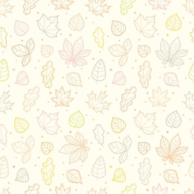 Diferente folhas silhuetas outono sem costura padrão Vetor Premium