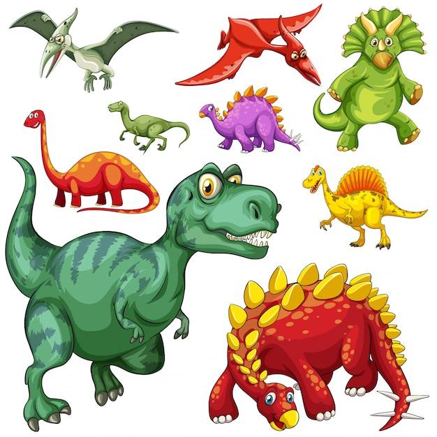 Diferente tipo de ilustração dos dinossauros Vetor grátis