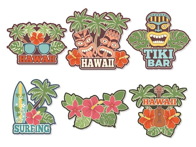 Diferentes adesivos coloridos e emblemas com símbolos da cultura havaiana Vetor Premium