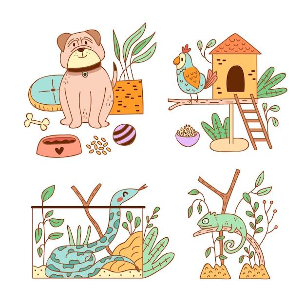 Diferentes animais fofos e seu habitat Vetor grátis