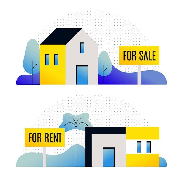 Diferentes casas para venda ou aluguel Vetor grátis