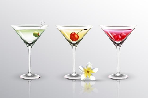 Diferentes cocktails de verão com frutas cereja e azeitona isolado Vetor Premium