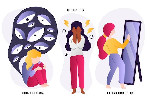 Diferentes conceitos de transtornos mentais Vetor Premium