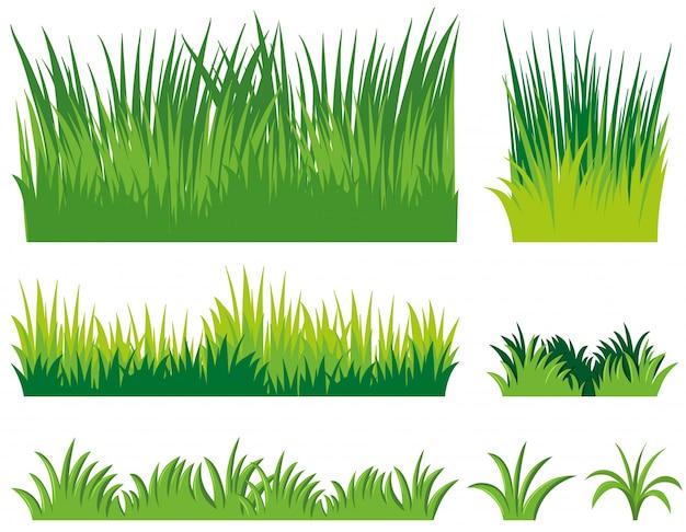 Diferentes doodles de grama Vetor grátis