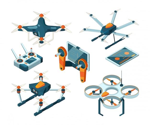 Diferentes drones isométricos e quadcopters Vetor Premium
