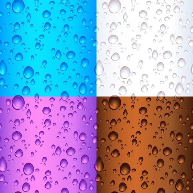 Diferentes elementos coloridos da gota de água de azulejos sem costura Vetor grátis