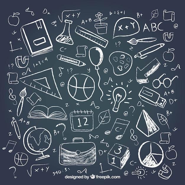 Diferentes elementos da escola no estilo do quadro-negro Vetor grátis