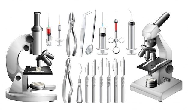 Diferentes equipamentos e ferramentas médicas Vetor Premium
