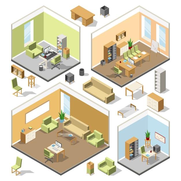 Diferentes espaços de trabalho isométricos com móveis seccionais. plano arquitectónico do vetor 3d. Vetor Premium