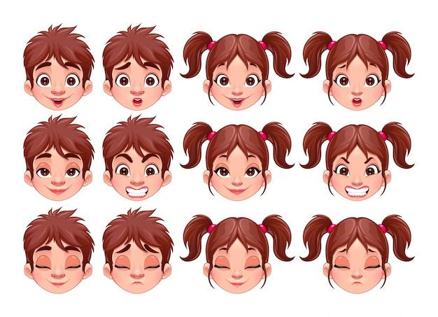 Diferentes expressões do menino e da menina do vetor isolado caracteres Vetor grátis