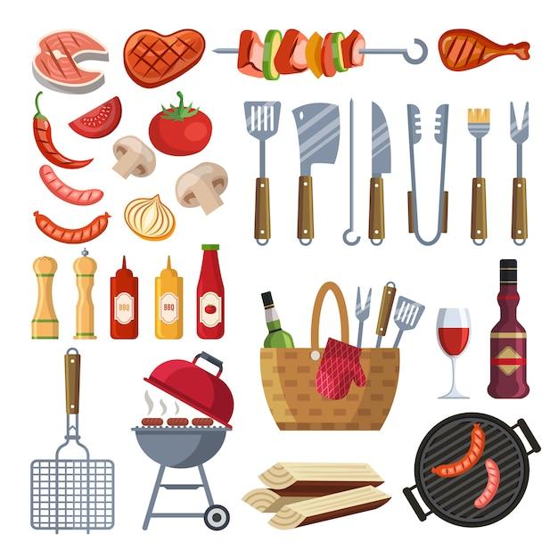 Diferentes ferramentas especiais e comida para churrasco Vetor Premium