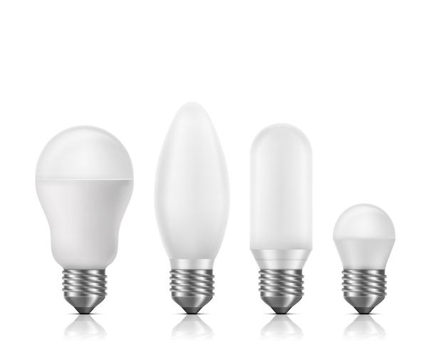 Diferentes formas e tamanho, fluorescentes ou lâmpadas de led com vidro branco matt e e27 base 3d realista vector conjunto isolado. lâmpadas de alta durabilidade e maior durabilidade Vetor grátis