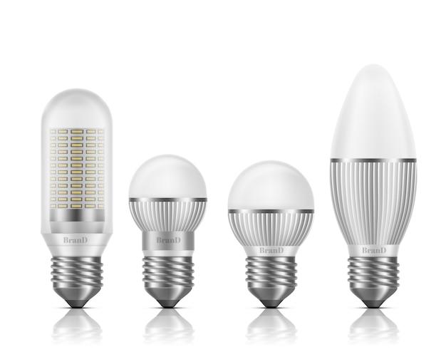 Diferentes formas e tamanhos lâmpadas led com dissipadores de calor ou aletas, e27 base, soquete tipo parafuso 3d realista vector set isolado Vetor grátis