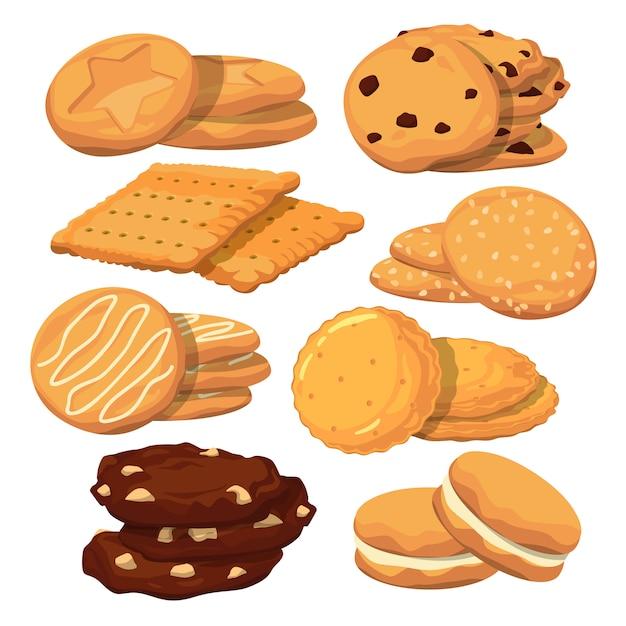 Diferentes ilustrações de sorvetes. padrão sem emenda de vetor. fundo de padrão de sorvete de chocolate e waffle Vetor Premium