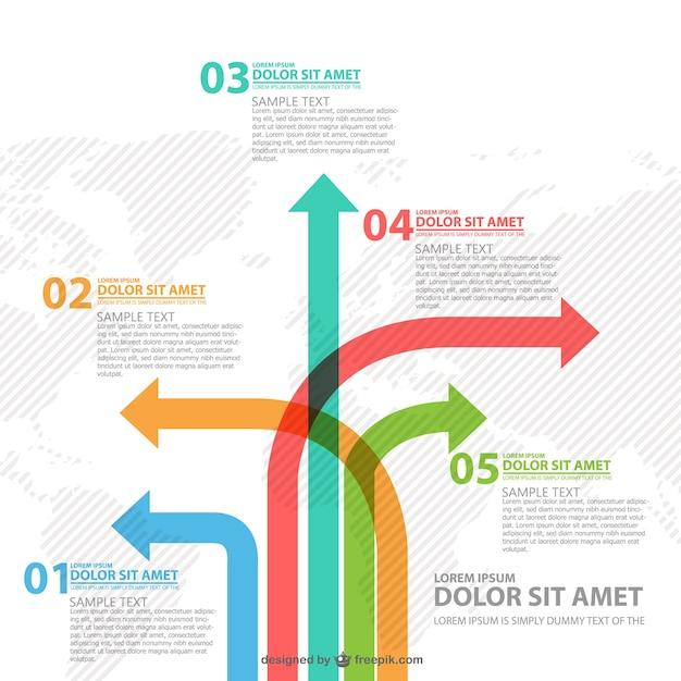 Diferentes infográficos maneira setas Vetor grátis
