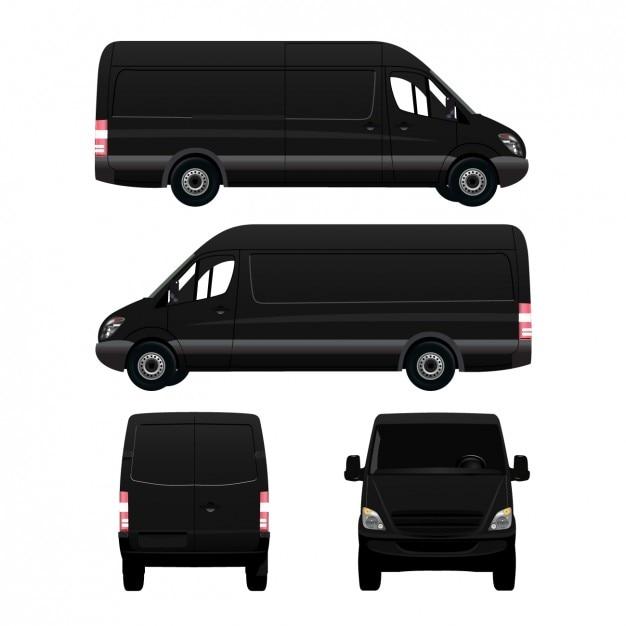 Diferentes lados de uma van Vetor grátis