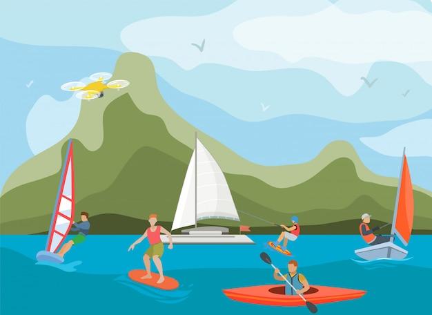Diferentes navios e embarcações para ilustração de atividade de água. desportistas aquáticos pessoas e tipos de esportes surf, windsurf, caiaque, iatismo e wakeboard. Vetor Premium