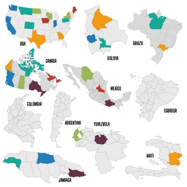 Diferentes países mapa político Vetor grátis