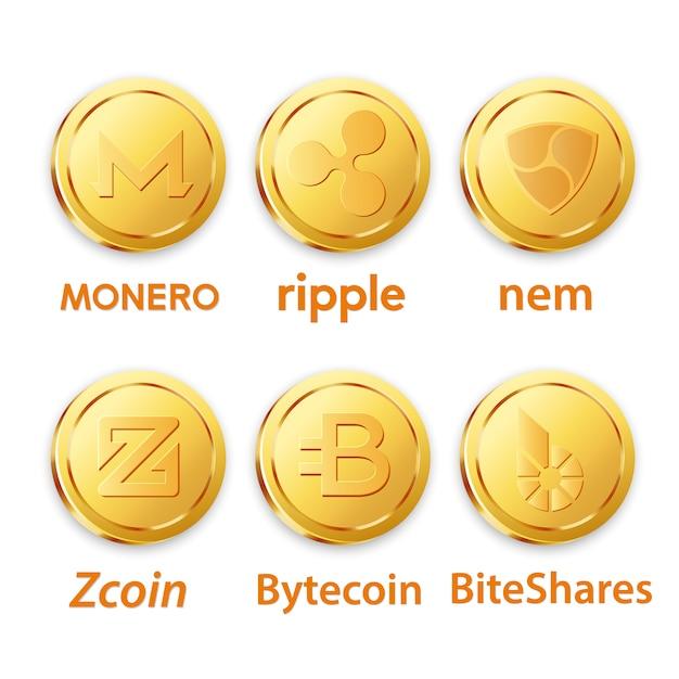 Diferentes projetos de bitcoins Vetor Premium