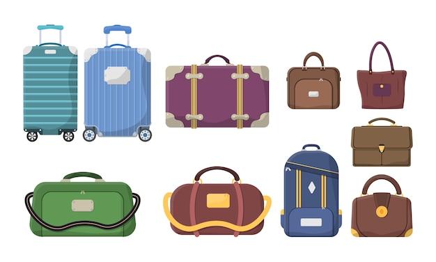 Diferentes tipos de bagagem. malas de plástico, metal, mochilas, malas para compras de turismo de férias de viagem. mala grande e pequena, bagagem de mão, transporte de animais, caixa, bolsa. . Vetor Premium