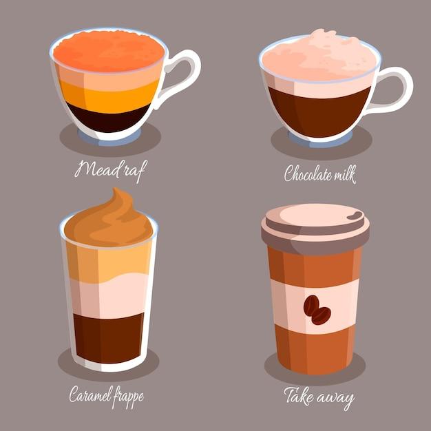 Diferentes tipos de café em xícaras Vetor grátis