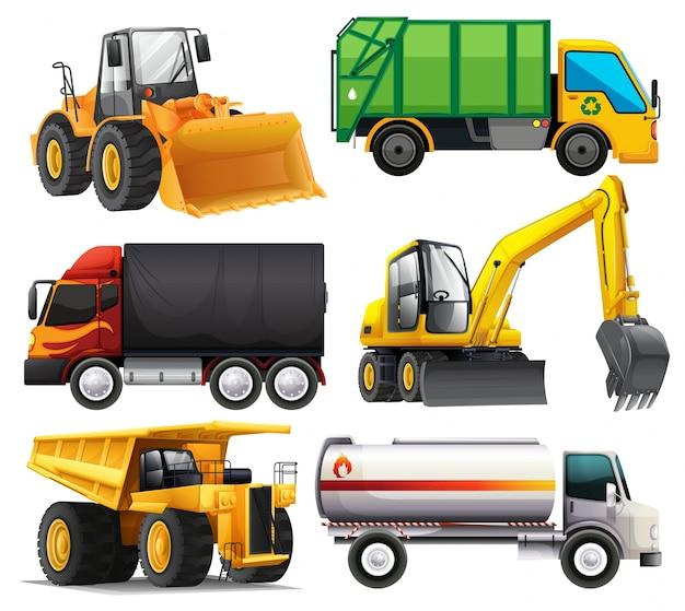 Diferentes tipos de caminhões Vetor grátis