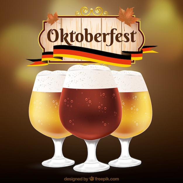 Diferentes tipos de cerveja no mais oktoberfest Vetor grátis