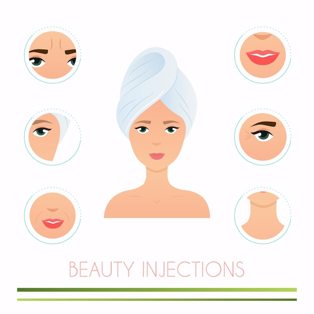 Diferentes tipos de injeções de beleza Vetor Premium