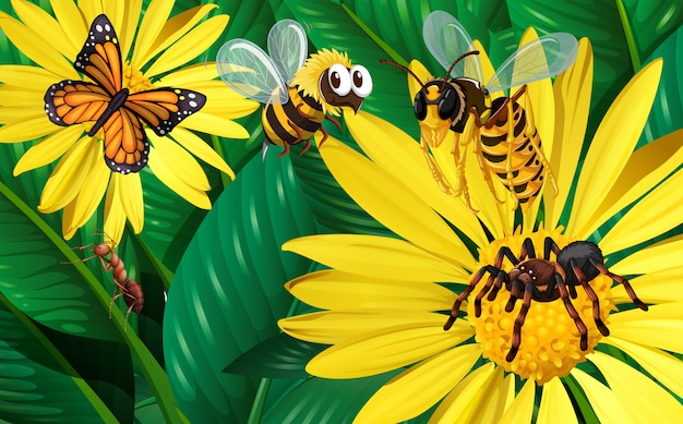 Diferentes tipos de insetos voando em torno de flores amarelas Vetor grátis