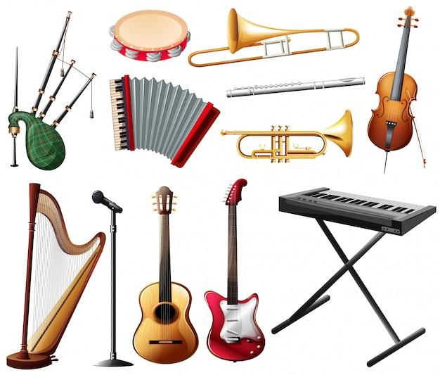 Diferentes tipos de instrumento musical em branco Vetor Premium