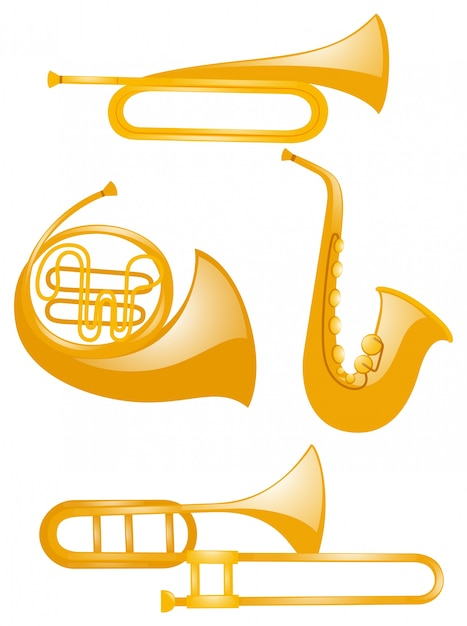 Diferentes tipos de instrumentos musicais Vetor grátis