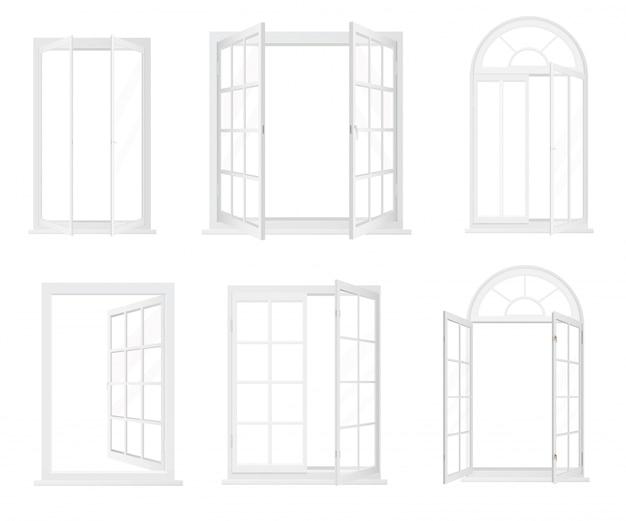 Diferentes tipos de janelas realistas Vetor Premium