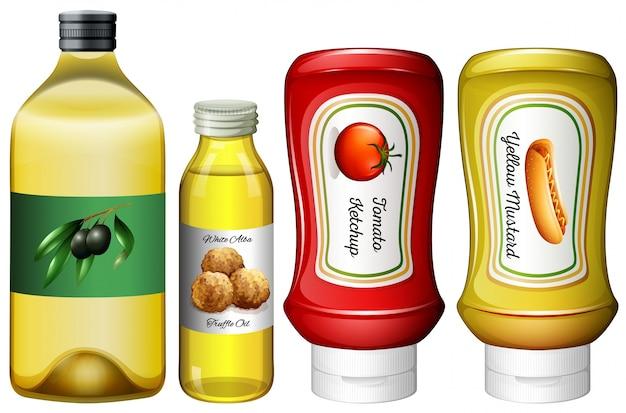 Diferentes tipos de molhos e óleo Vetor grátis