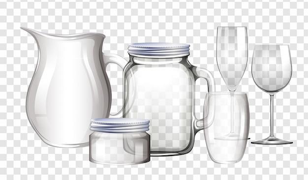 Diferentes tipos de recipientes feitos de vidro Vetor grátis