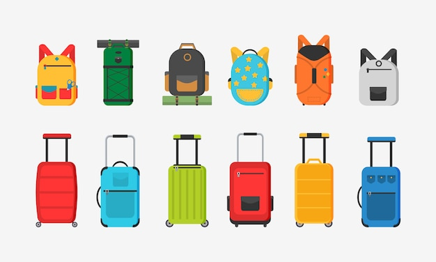 Diferentes tipos de sacolas. malas de plástico, metal, mochilas, malas para bagagem. mala grande e pequena, bagagem de mão, mochila, caixa, bolsa. Vetor Premium