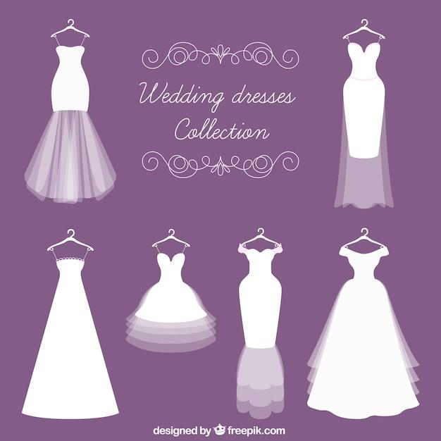 Diferentes tipos de vestido de noiva Vetor grátis