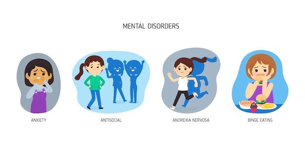 Diferentes transtornos mentais Vetor grátis