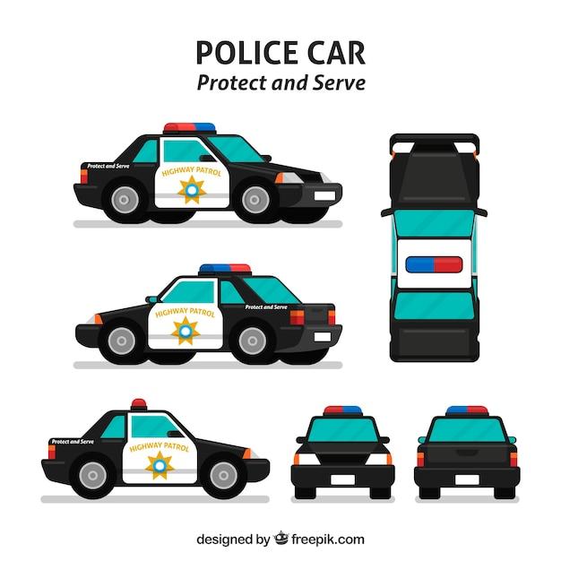 Diferentes vistas do carro da polícia Vetor grátis