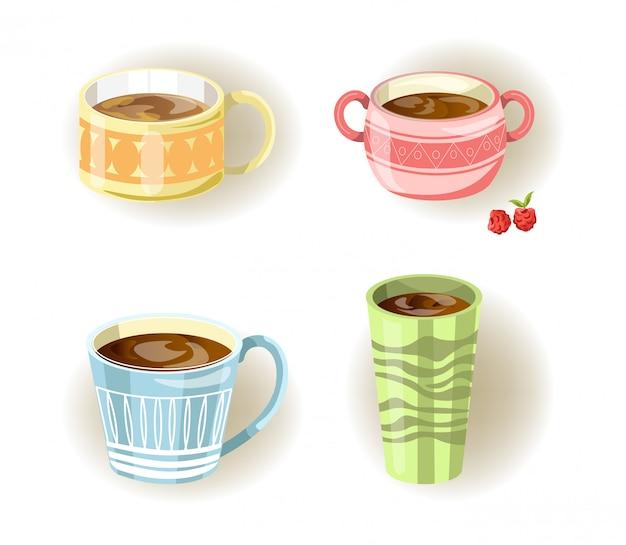 Diferentes xícaras de café, chá ou sopa e canecas Vetor Premium