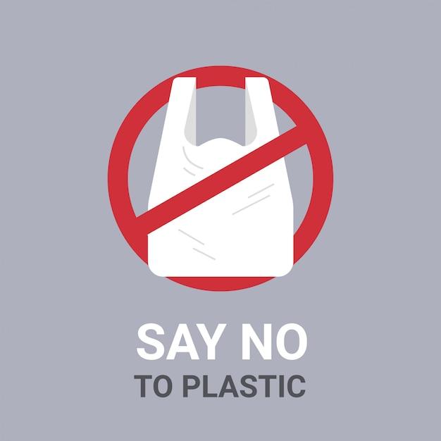 Diga não ao saco de plástico cartaz poluição reciclagem ecologia problema salvar o conceito de terra descartável celofane e polietileno pacote proibição assinar Vetor Premium