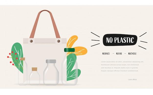 Diga não às sacolas plásticas e leve uma sacola de tecido. a reutilização reduz o conceito de reciclagem para economizar terra. Vetor Premium