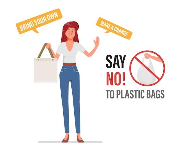 Diga não às sacolas plásticas e leve uma sacola de tecido. conceito de problema de poluição. Vetor Premium