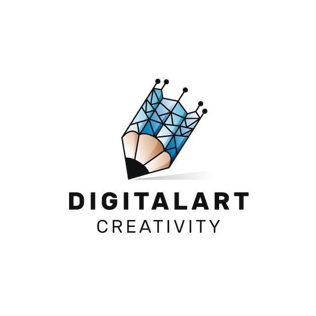 Digital art logo Vetor Premium