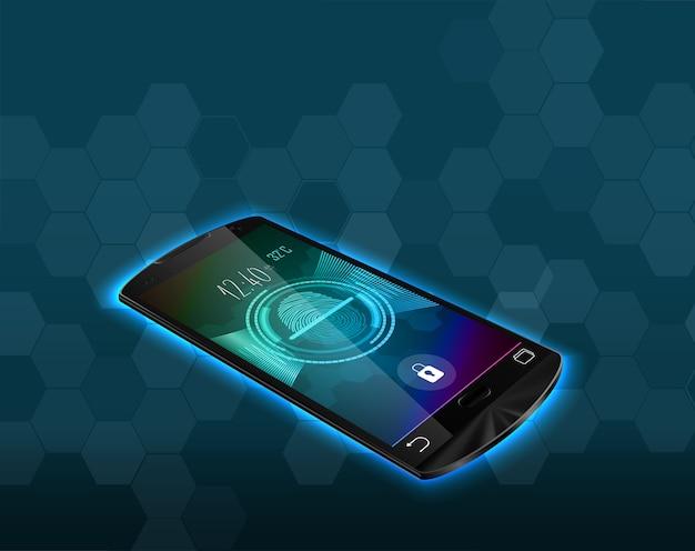 Digitalização de bloqueio de impressão digital no smartphone Vetor Premium