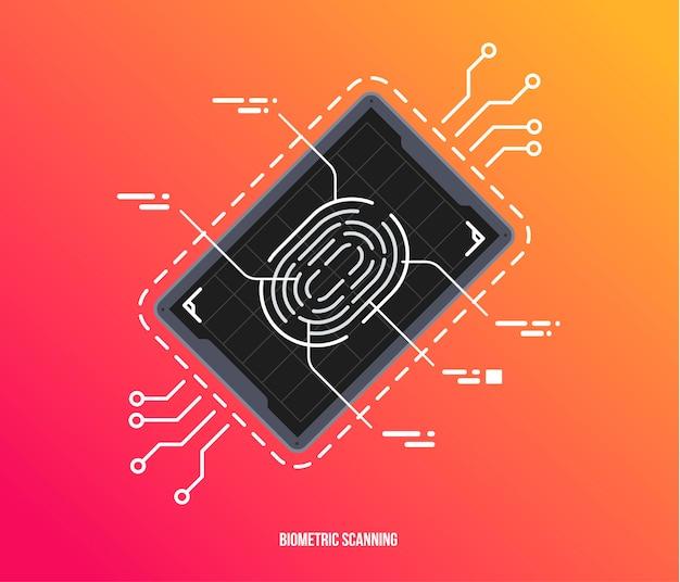 Digitalização de dedo no estilo futurista. id biométrico com interface futurista do hud. símbolo de autorização biométrica Vetor Premium