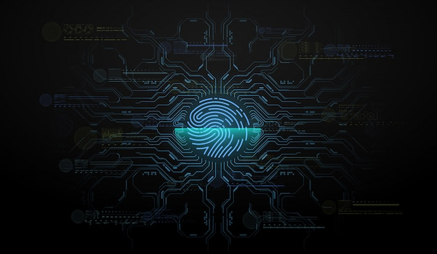 Digitalização de dedo no estilo futurista. identificação biométrica com interface futurista hud. ilustração do conceito de tecnologia de digitalização de impressão digital. digitalização do sistema de identificação. Vetor Premium