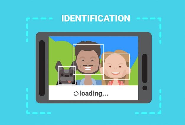 Digitalização de tablet digital user face loading sistema de identificação controle de acesso tecnologia moderna Vetor Premium