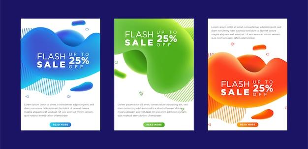 Dinâmico moderno fluido móvel flash venda banners. Vetor Premium