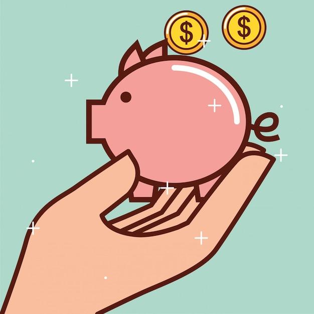 Dinheiro cofrinho Vetor grátis